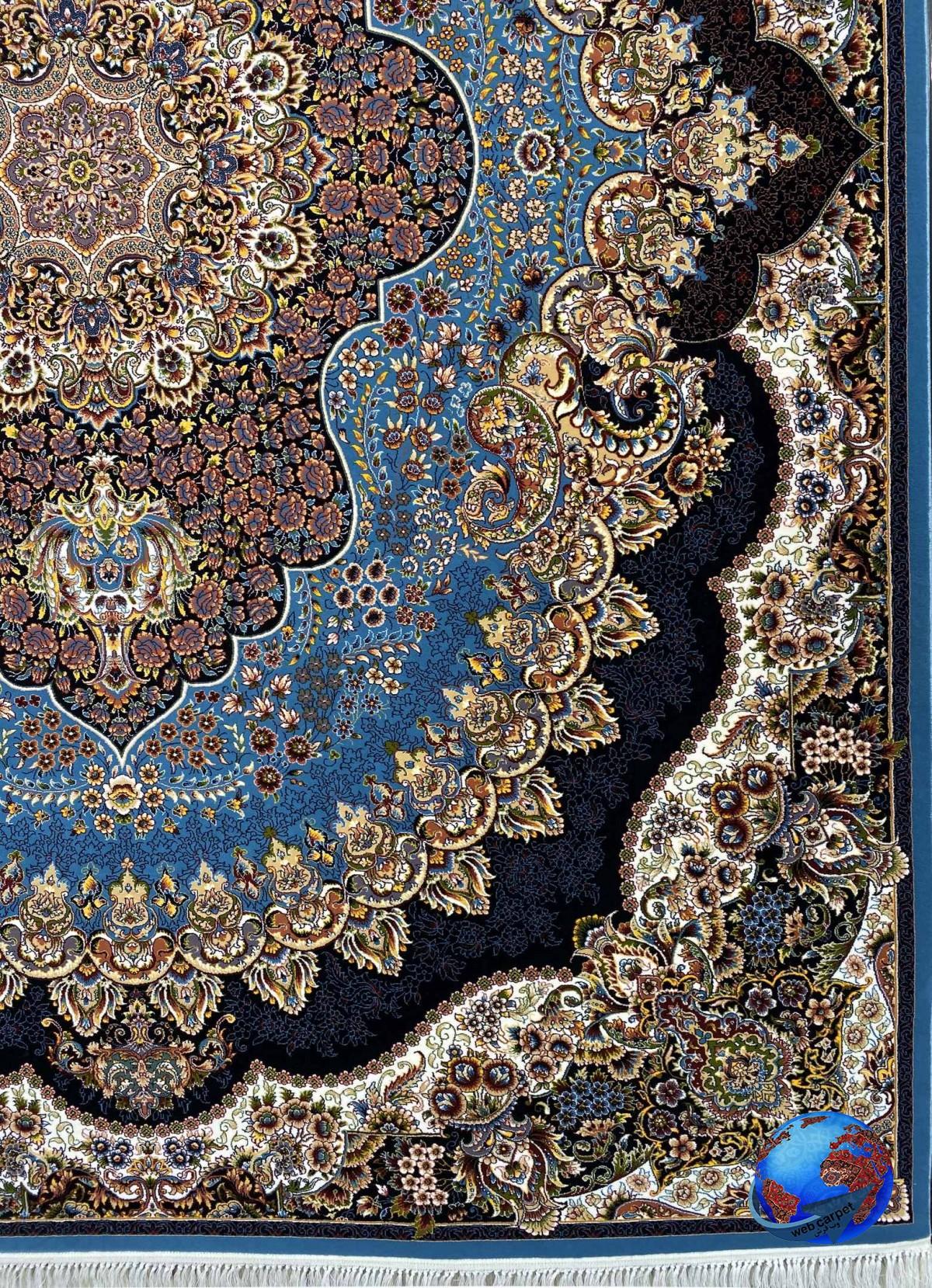 فرش طرح ارکیده آبی