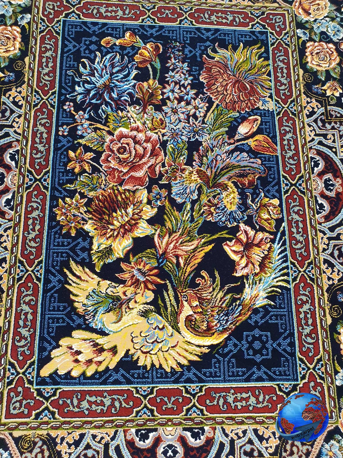 فرش طرح باغ ارم سرمه ای