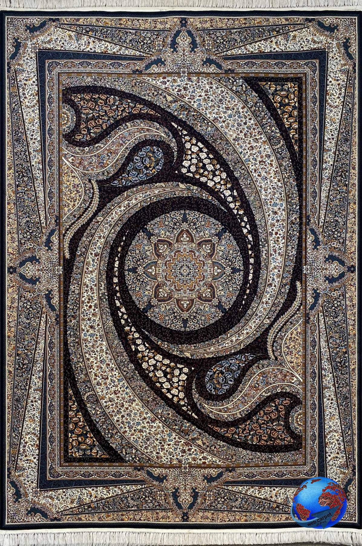 فرش طرح کهکشان سرمه ای