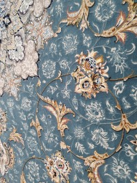 فرش محیا آبی اطلسی گلبرجسته